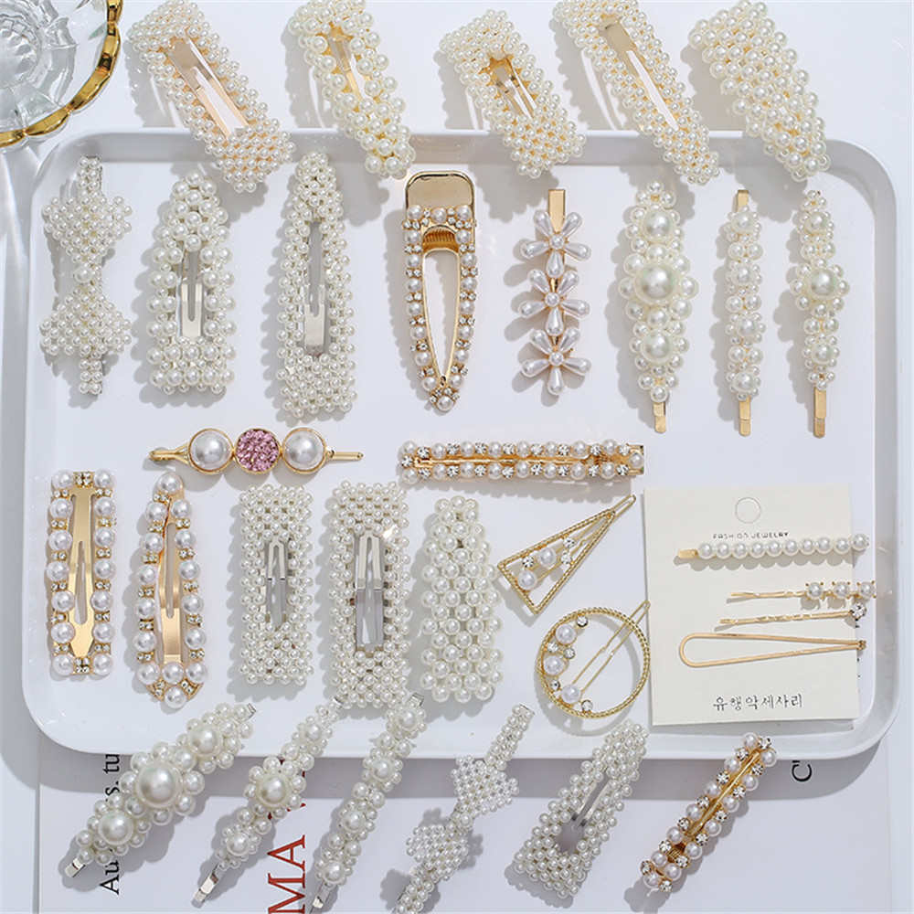 1set Pearl Hair Clips For Women Snap Barrette Fashion Hair Barrette Hair Pins Bobby Pin Barrette Hairpin  Hair Styling