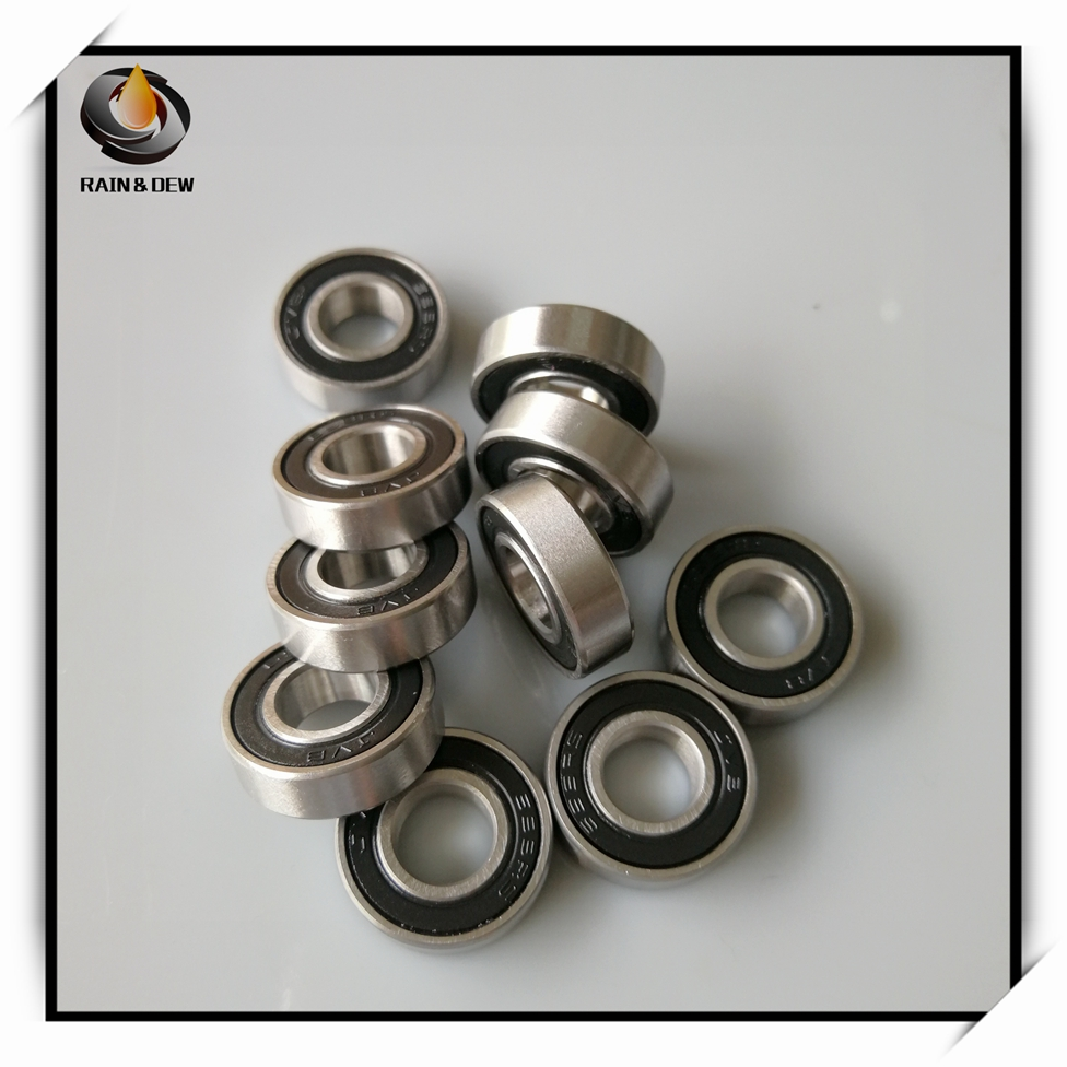 10 Pcs 8x14x4 mm Rubber Double Sealed Ball Bearing MR148RS BLACK MR148-2RS