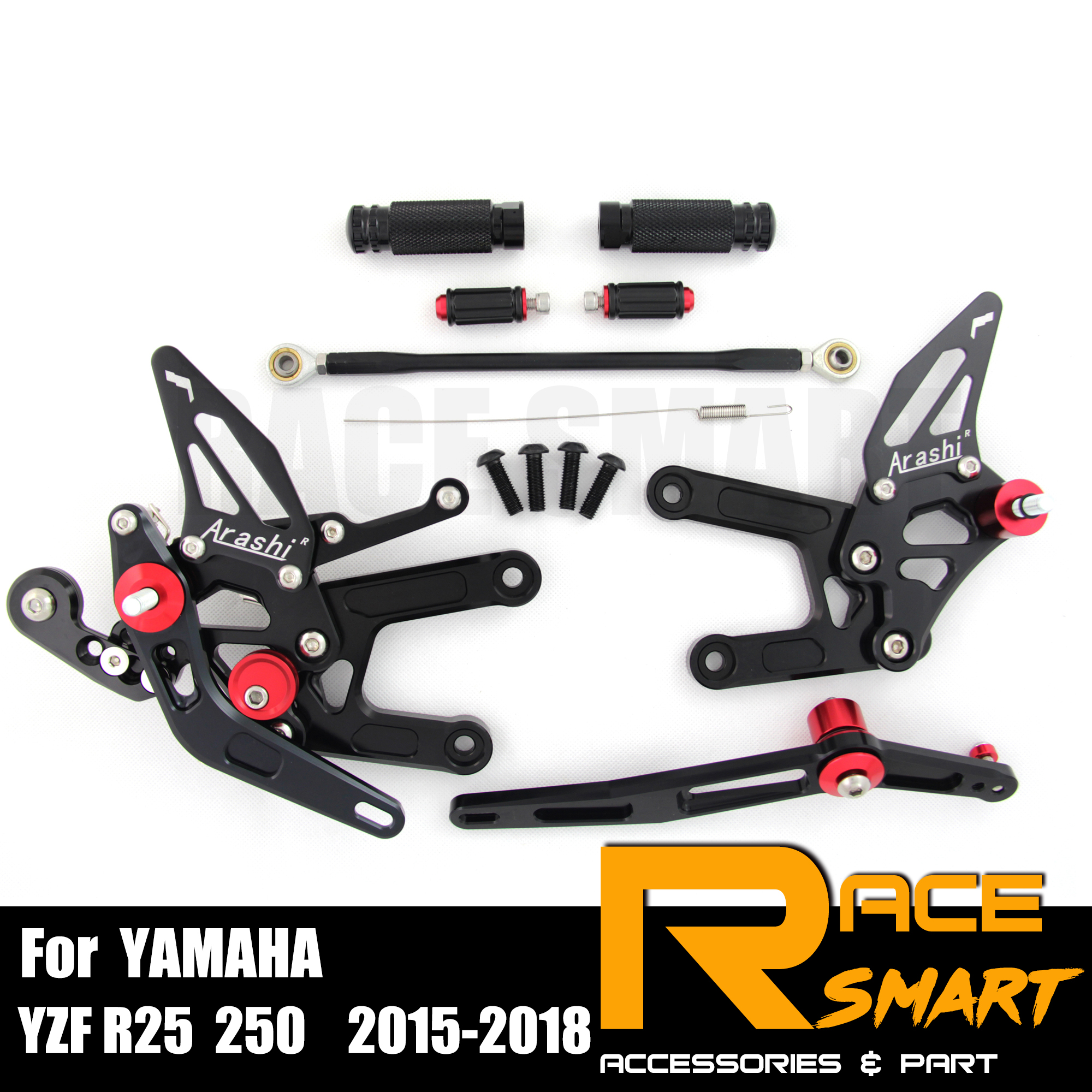 For YAMAHA R3 2015 - 2018 250CC CNC Adjustable Rearset Footpegs Footrest Foot Rest Pegs Pedal Motorcycle Accessories 2016 2017