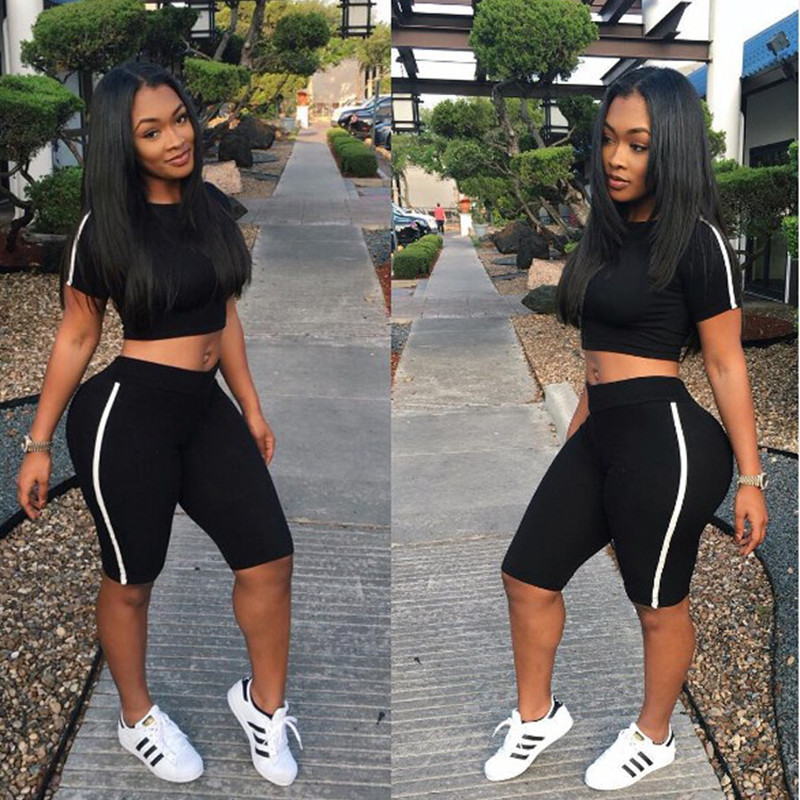 Black Trim Skinny Tracksuit Women Casual Short Sleeve T Shirt Crop Top With Shorts Two Piece Set Sexy Night Club Women Outfit