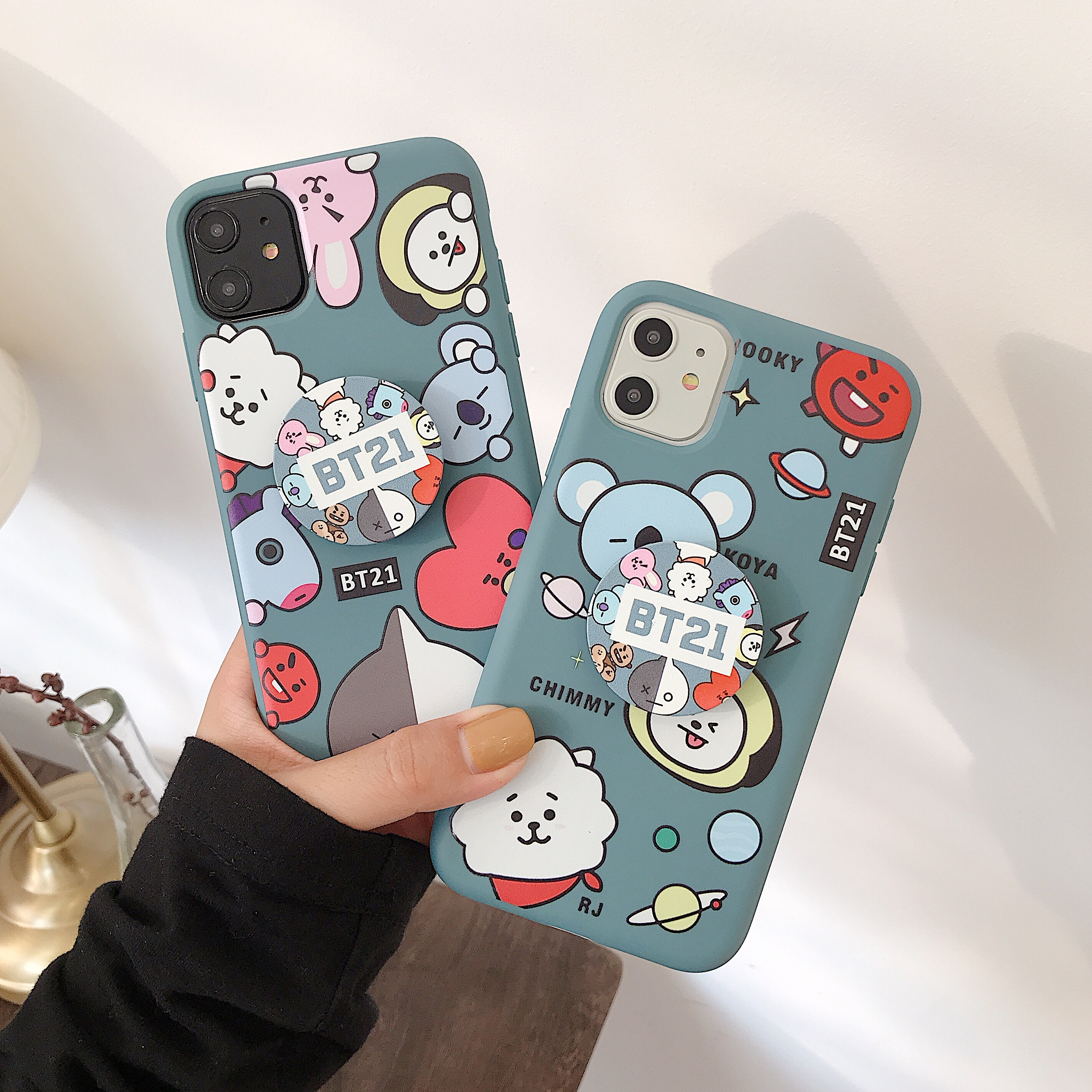 DIY Cute Cartoon Stand Holder Letter Phone Case For iphone 11Pro max 6 7 8 Plus XR XS MAX XS X 11Pro Phone Cover Coque