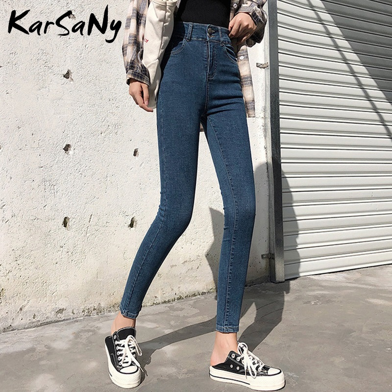 Skinny High Waist Women Jeans Woman 2020 Spring Denim Pants Skinny Jean Woman Button Black Jeans Women High Waist Denim Pants