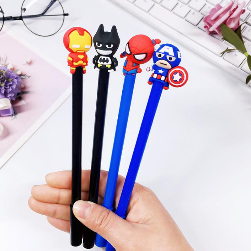 4 Pcs/set Cartoon 0.5mm Superhero Character American Captain Spiderman Gel Pens Signature Pen Escolar Papelaria Stationery Gift