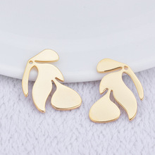 (198 )10pcs 21x18mm 24k Gold Color Brass fish bone Charms Pendants High Quality Diy Accessories Jewelry Findings
