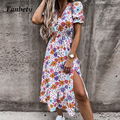 Summer Women Fashion Elegant Floral Print Party Dress Sexy V-Neck Button Design Split Dresses Ladies Casual Short Sleeve Dress