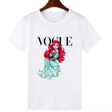 LUCKYROLL Ariel Princess T Shirt Women Summer Mermaid Print Short Sleeve Streetwear Tshirt Harajuku Vogue Plus Size T-shirt