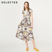 SELECTED Women's Summer National Print Splice Dress S|419261503(China)