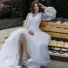 Свадебное белое платье с длинными пышными рукавами для выпускного