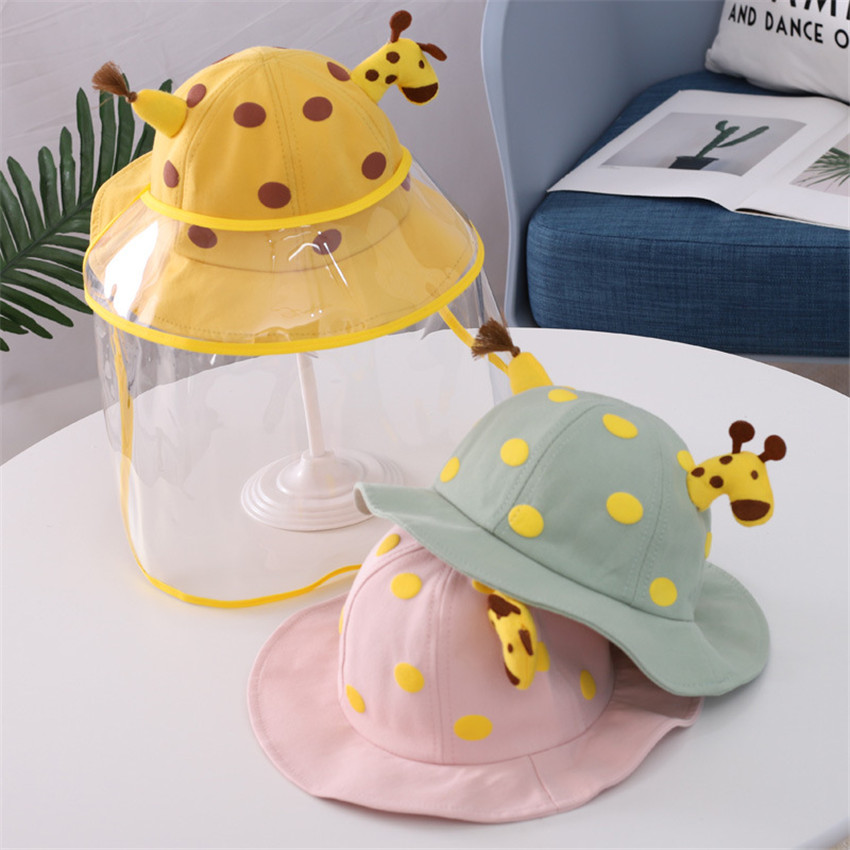 Cute Giraffe Anti-spitting Protective Hat Kids Boys Girls Dustproof Hat With Face Cover Fisherman Cap Hats Protective Mask Cap