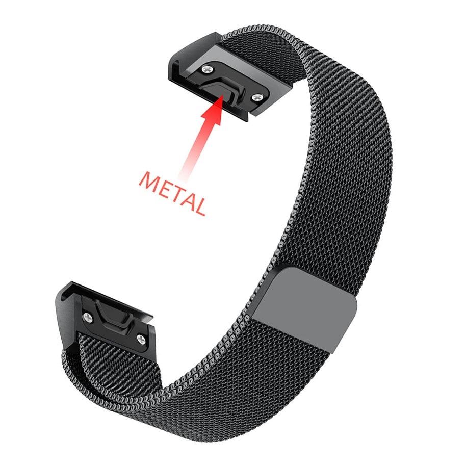 26 22 20MM Watchband Strap For Garmin Fenix 6X 6S 6 Pro 5X 5 5S 3 3HR Watch Quick Release Stainless Steel Strip Wrist Band Strap