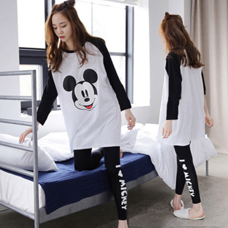 Fashion Girl Mickey Pajamas Set Women Sleepwear Pijama Long Women Pyjamas Suit Female Clothing Set 2019 Nightwear