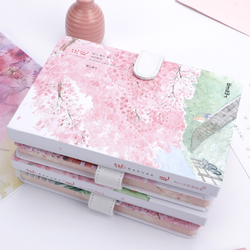 1 pcs Creative trend color page A5 notebook beautiful cherry blossom diary hardcover hand book school supplies