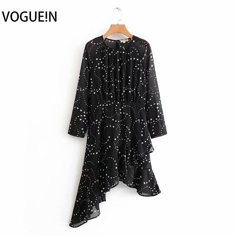 VOGUEIN New Womens Stars Print Transparent O-Neck Chiffon Asymmetrical Black Mini Dress Wholesale