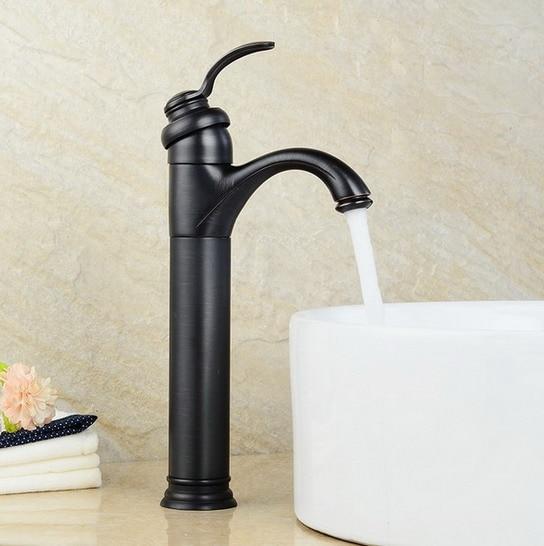 Preto Friccionado Óleo Bronze Antique Brass Banheiro Vessel Sink Toque Mixer Bacia Torneira Um Buraco Único Punho mnf227