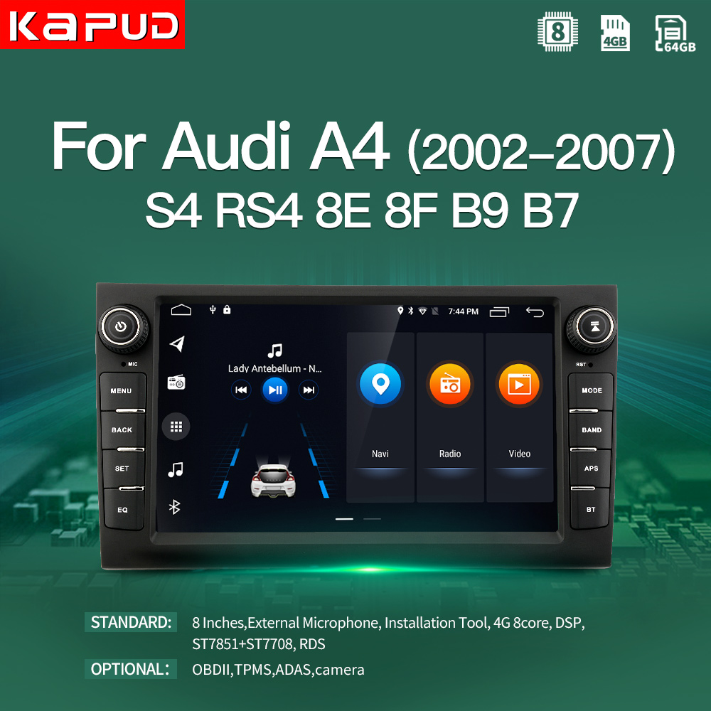 Kapud Android 10.0 Car Multimedia Player 8 Inch Navigation For Audi A4 2002 2007 S4 RS4 8E 8F B9 B7 Radio Stereo BT GPS Wifi DSP|Car Multimedia Player|   - AliExpress