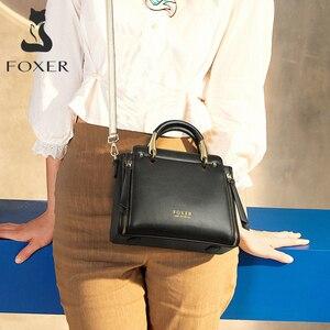 Image 2 - Foxer bolsa feminina chique totes feminino dividir sacos de ombro couro grande capacidade bolsas à moda sacos do mensageiro 928019f