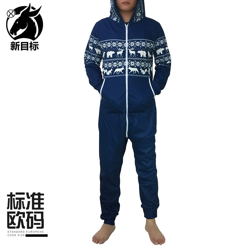 Foreign Trade Ouma 2019 Winter Thick Couples Celebrity Style Reindeer Printed Christmas Plus Velvet Onesie Long Sleeve Hoodie