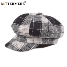 BUTTERMERE Hat Women Winter Plaid Newsboy Cap Wool Ladies British Retro Flat Black Female Beret Woolen Octagonal