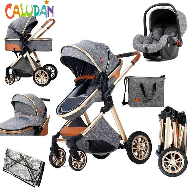 2021 novo carrinho de bebê 3 em 1 alta paisagem carrinho reclinável carrinho de bebê dobrável carrinho de bebê berço puchair recém-nascido 1