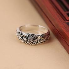 Anillo de plata antiguo para mujer, joyería de moda con flores rosas tallada, anillos femeninos, anillo de compromiso Vintage para boda, regalo para chica DBR002
