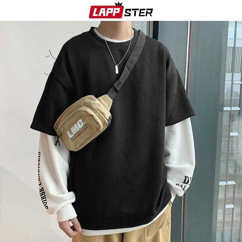 LAPPSTER Men Streetwear Fake Two Pieces Hoodies 2020 Pullover Mens Black Oversized Sweatshirts Male Korean Fashions Hoodie 5XL