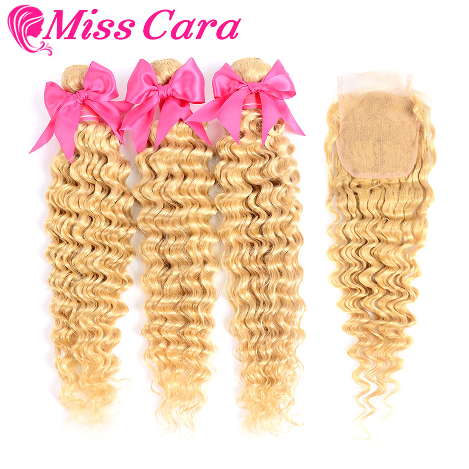 Miss Cara 613 Blonde Malaysian Deep Wave 3 Bundles With Closure Human Hair Bundles With Closure Remy 613# Hair Extensions image