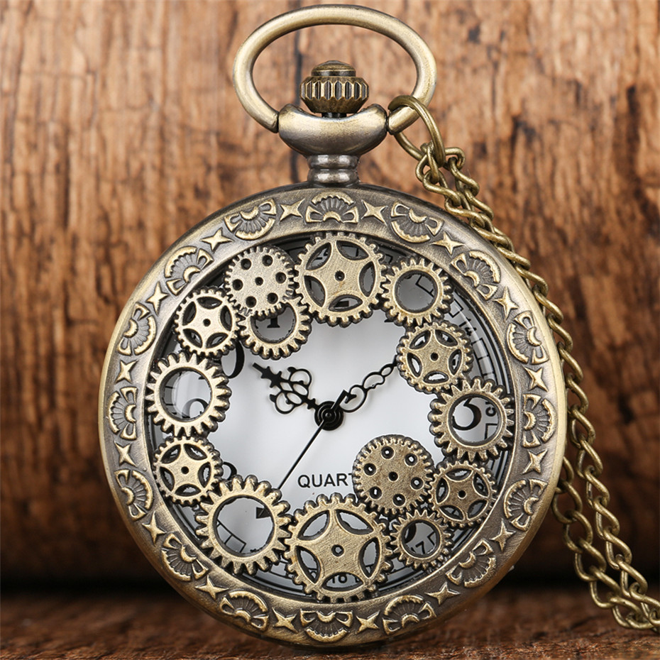Vintage Bronze Hollow Gear Quartz Movement Pocket Watch With Chain Necklace Pendant Unisex Gifts