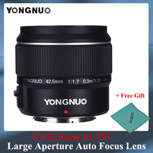 Yongnuo YN42.5mm F1.7 Large Aperture AF/MF Autofocus Standard Fixed Focus Lens Easily Blur Background with Free Lense Cloth