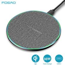 FDGAO Qi kablosuz şarj için Samsung Galaxy S21 S20 S10 not 20 iPhone 12 11 Pro XS Max XR 8 artı 30W tip C hızlı şarj pedi