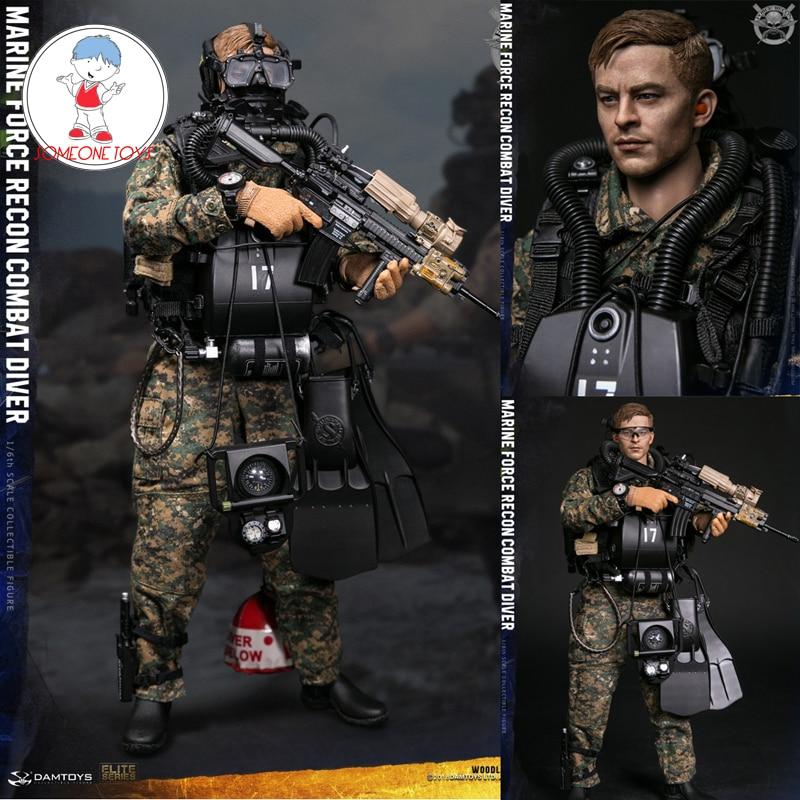 """DAMTOYS 78056 1:6th Marine Force Recon Combat Diver Head Sculpt F12/"""" Male Figure"""