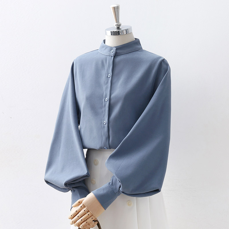Korean Style Women Blouse Autumn Solid Shirts 2020 Lantern Sleeve O Neck With Buttons Loose Casual Female Blouses Blusas Mujer