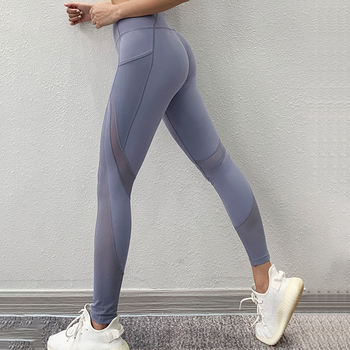 SALSPOR Seamless Gym Leggings Women Mesh Patchwork Pocket  Sport Leggings High Waist Push Up Yoga Pants Fitness Clothing Femme 2