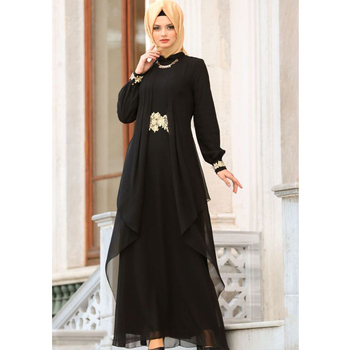 WEPBEL Arab Dubai Dresses Turkish Robes Muslim Women Chiffon Dress Embroidered Moroccan Kaftan Plus Size Islamic Clothing Abaya plus size arab embroidered open front blouse