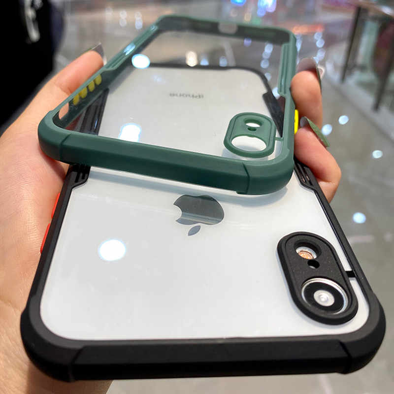 Luxe Shockproof Frame Clear Telefoon Case Voor Iphone 11 Pro Max Xr X Xs 7 8 Plus Se 2 2020 lens Volledige Beschermende Transparante Cover