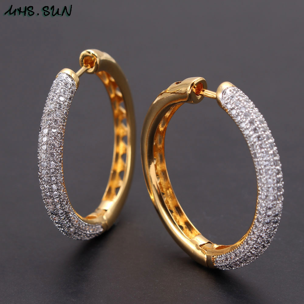 Image 3 - MHS.SUN 2019 New European Style Jewelry Gold Color Hoop Earrings With AAA Zircon For Women Wedding Party Circel Earrings GiftHoop Earrings   -