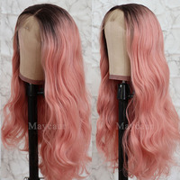 Maycaur Black Pink Color Synthetic Lace Front Wigs Glueless Long Wavy Hair 180% Density Lace Wigs for Black Women