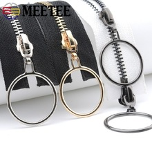 Meetee 5# 85cm 120cm Metal Zippers Open-End Double/sigle Ring Sliders Zip for Sewing Overcoat Jacket Zipper Clothes Accessories