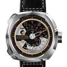 AOUKE orologio automatico per gli uomini di modo di disegno di marca meccanica del vento di auto orologio da polso cinturino in pelle sport orologi relogio masculino