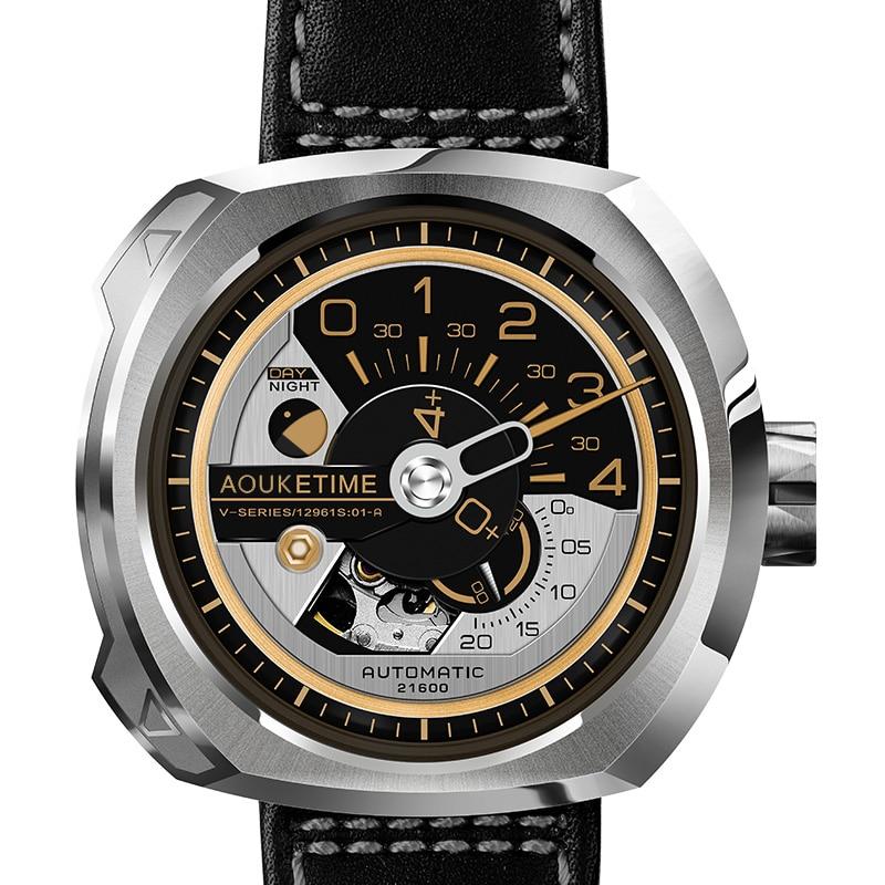 Automático para Homens Relógio de Pulso Aouke Relógio Moda Marca Design Mecânico Auto Vento Pulseira Couro Esporte Relógios Masculino