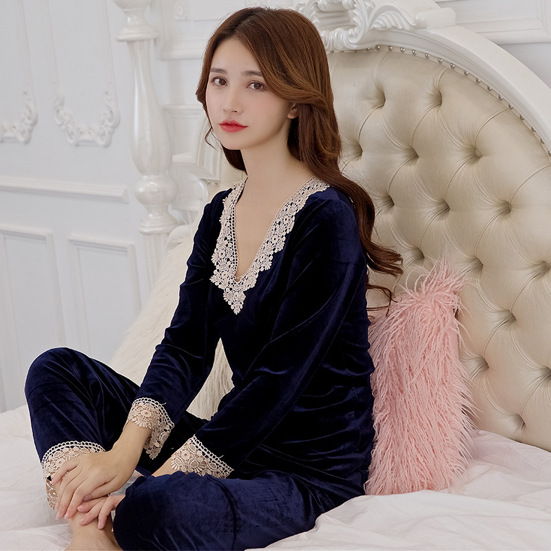 Autumn And Winter New Products Pajamas Women's Winter Gold Velvet Pullover Set Long Sleeve Trousers WOMEN'S Pajamas Suede