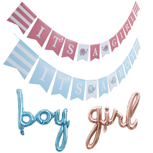 3m Cute Pink Blue Elephant Baby Shower Banner Its A GIRL/BOY Bunting for Gender Reveal Par