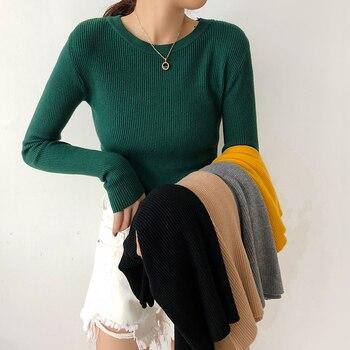 2019 חדש נשים של סוודר סוודר בסיסי צלעות סרוג כותנה חולצות מוצק O-צוואר חיוני Jumper סתיו חורף ארוך שרוול סוודרים