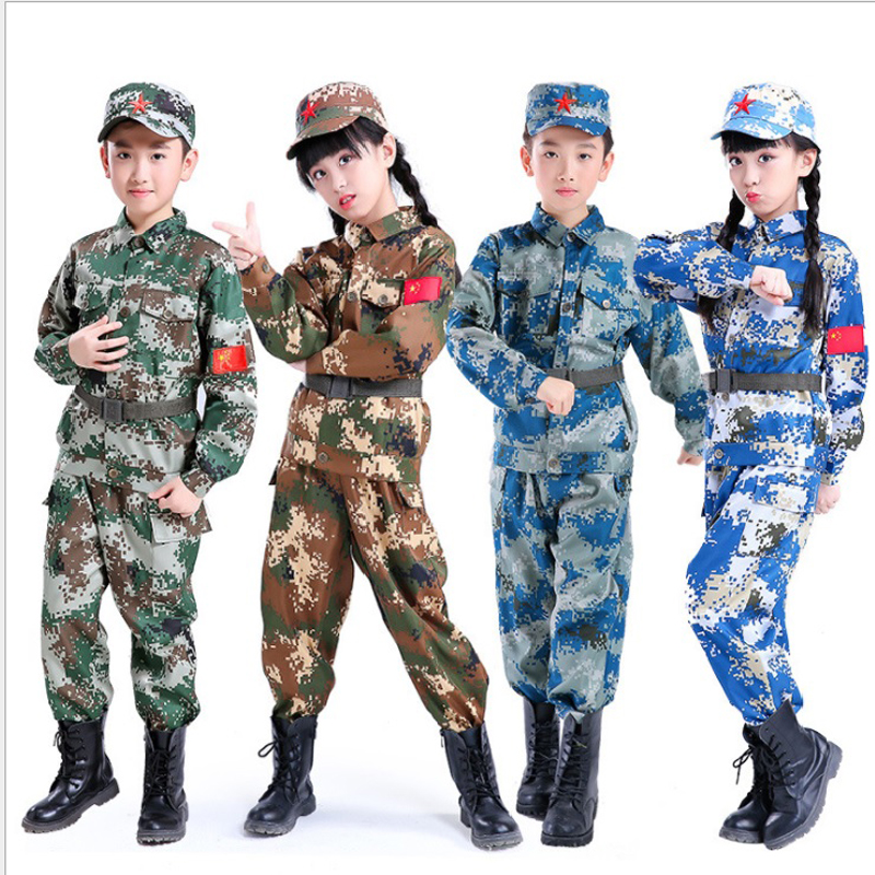 Tactical Military Uniform For Children's Day Camouflag Disguise Adult Halloween Costume For Kid Girl Scout Boy Soldier Army Suit