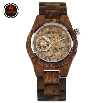 REDFIRE Self Winding Mechanical Men Watches Creative Full Wooden Men Bangle Wristwatches Automatic Timepiece Business Mens Watch