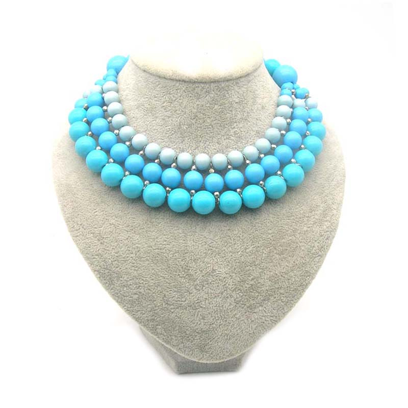 Dandie Trendy Blue Acrylic Bead Necklace Three Layer Elegant Necklace Jewelry in Choker Necklaces from Jewelry Accessories
