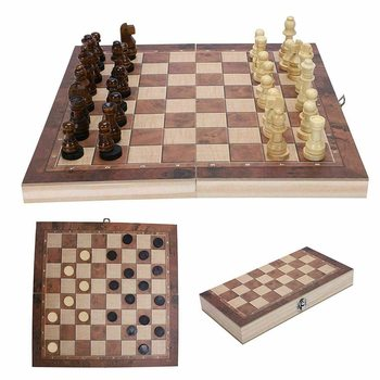 3 in 1 Folding Chess Set Wooden Game Backgammon Checkers Chessboard Pieces  Traditional Chessman