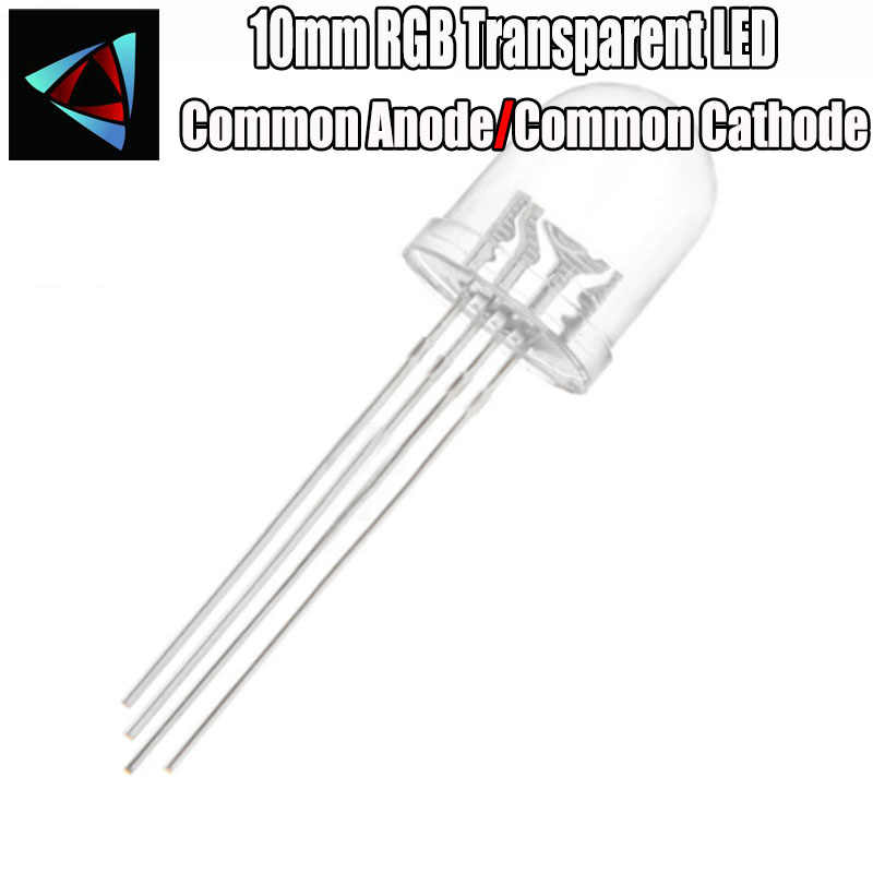 10 pcs = Full colors Transparent RGB LED, 10mm, common anode Common Cathode diode