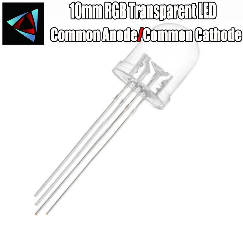 10 Pcs = Full Colors Transparent RGB LED, 10mm, Common Anode Common Cathode Diode