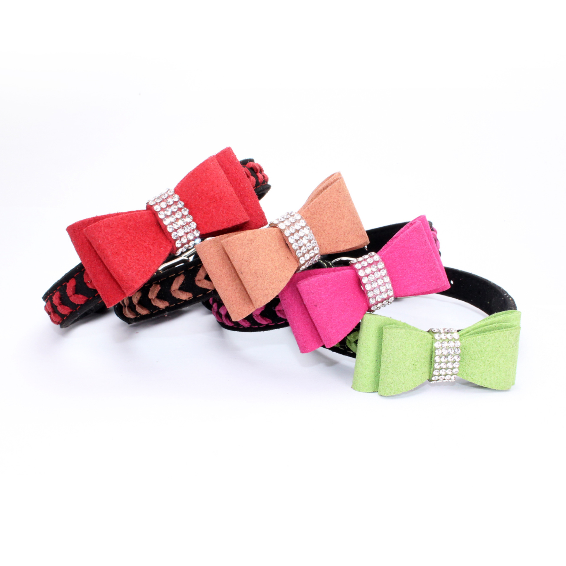 Jin Ling Jie New Style Man-made Diamond Bow Pet Collar Hand-woven Microfiber Soft And Comfortable Dog Chain Large Amount