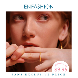 Image 1 - Enfashion Pure Form Twist Rings For Women Gifts Gold Color Brass Wave Men Ring Fashion Jewelry Bague Anillo Jewellery RF184005